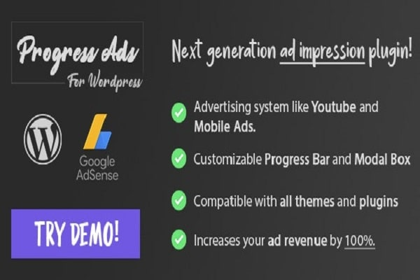 Progress Ads WordPress Skippable Ads Plugin