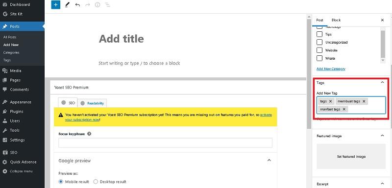 Cara Membuat Tags Di Postingan Blog Wordpress Anda